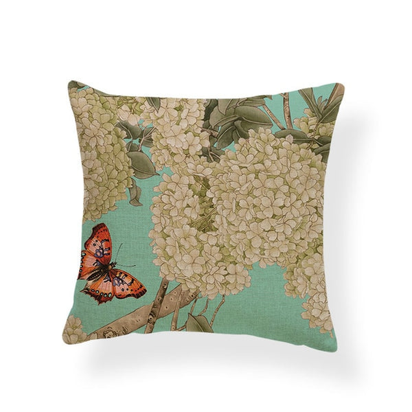 Dragonflies and Butterflies -- Vintage style floral cushion covers (hydrangea and butterfly)