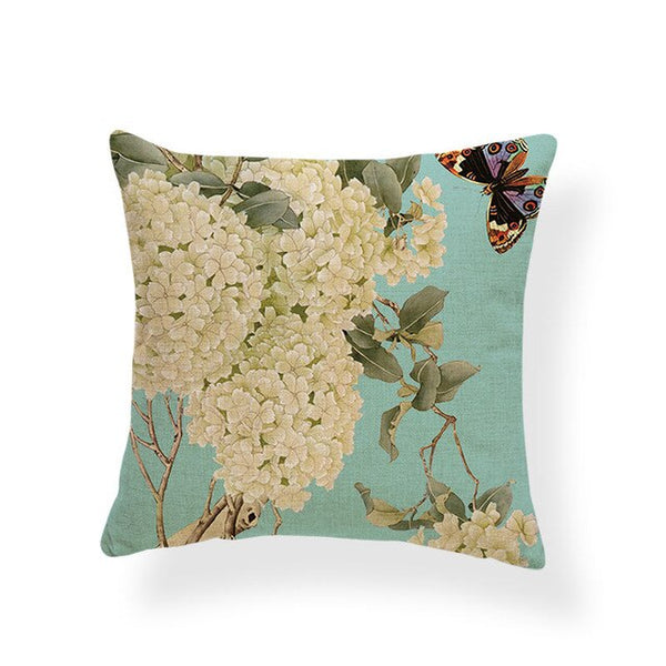 Dragonflies and Butterflies -- Vintage style floral cushion covers (hydrangeas)