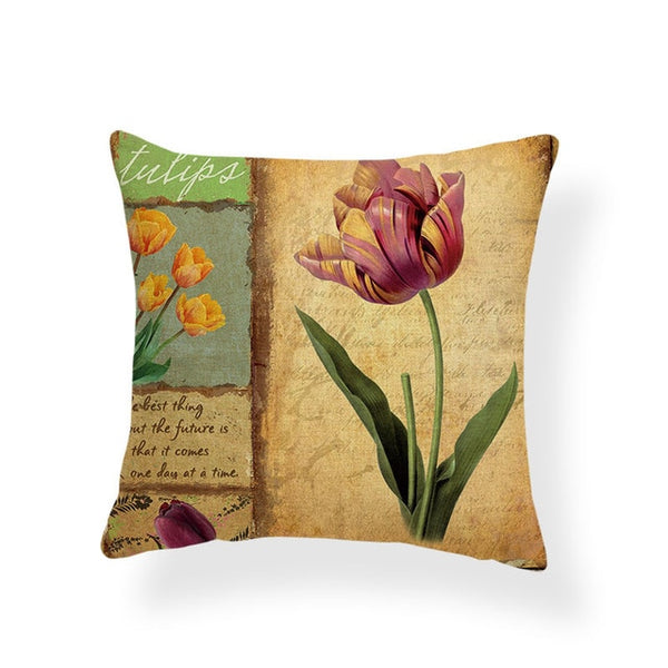 Dragonflies and Butterflies -- Vintage style floral cushion covers (tulip)