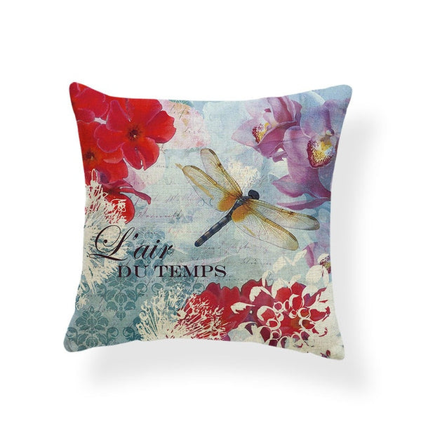 Dragonflies and Butterflies -- Vintage style floral cushion covers (dragonfly)