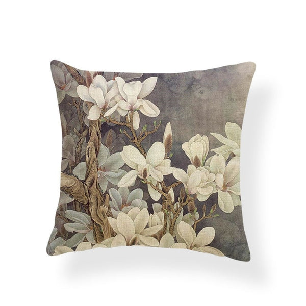 Dragonflies and Butterflies -- Vintage style floral cushion covers (magnolia)