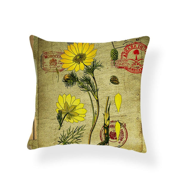 Dragonflies and Butterflies -- Vintage style floral cushion covers (daisy)