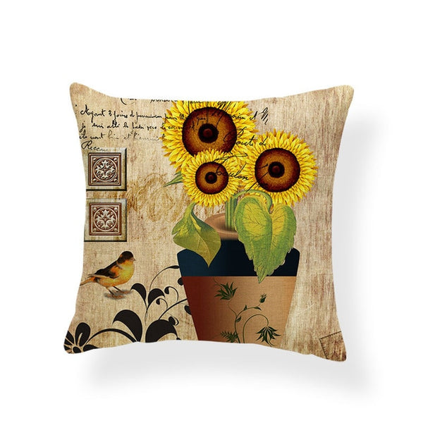 Dragonflies and Butterflies -- Vintage style floral cushion covers  (sunflowers)