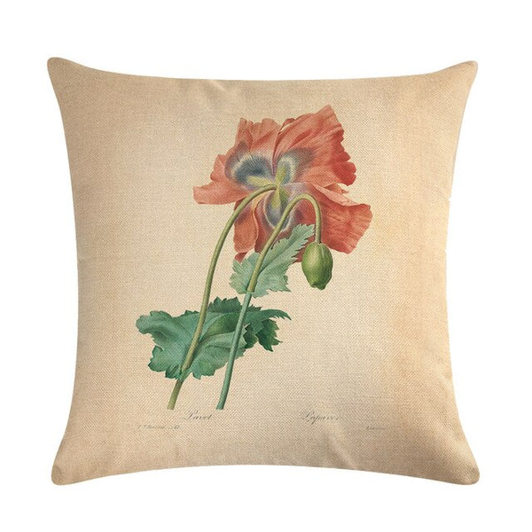 Vintage flowers Floral cushion covers Pillow case (red flower)