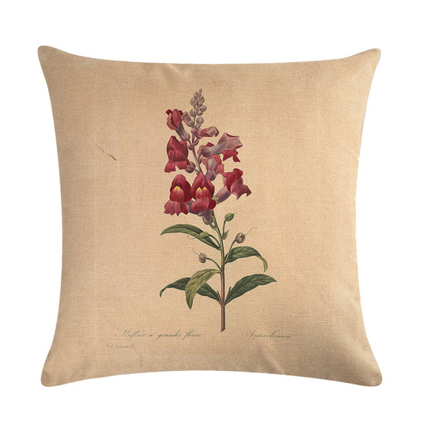 Vintage flowers Floral cushion covers Pillow case (red bells)