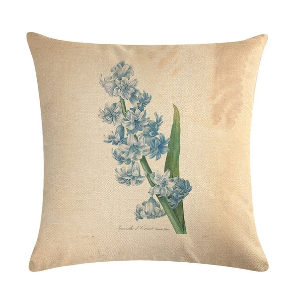 Vintage flowers Floral cushion covers Pillow case (blue)