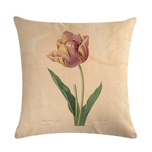 Vintage flowers Floral cushion covers Pillow case (pink tulips)
