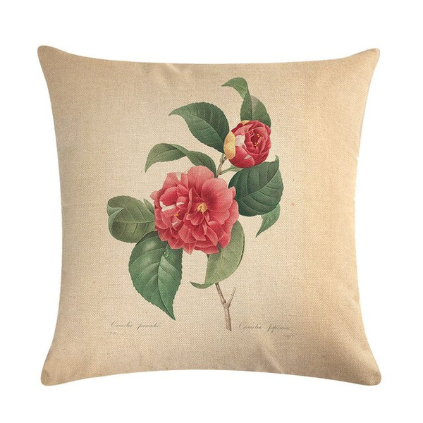 Vintage flowers Floral cushion covers Pillow case (red rose)