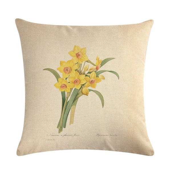 Vintage flowers Floral cushion covers Pillow case (daffodils)