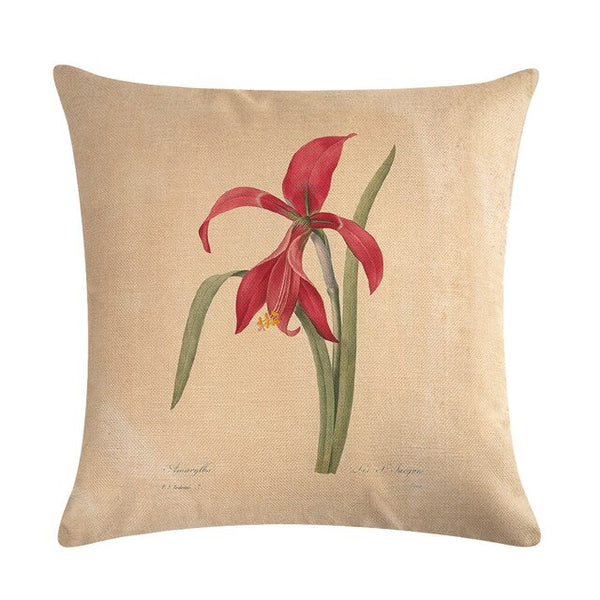 Vintage flowers Floral cushion covers Pillow case (red lilies)