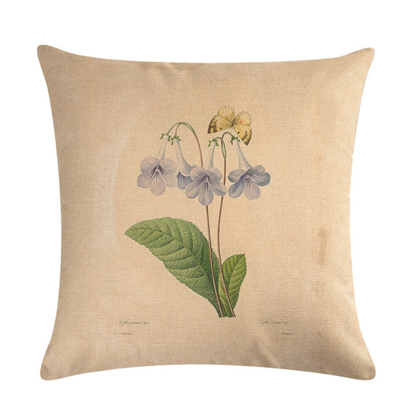 Vintage flowers Floral cushion covers Pillow case  (blue bells)