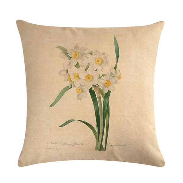 Vintage flowers Floral cushion covers Pillow case (white daffodils)