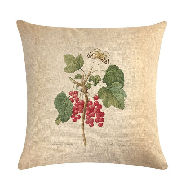 Vintage flowers Floral cushion covers Pillow case (red berries)