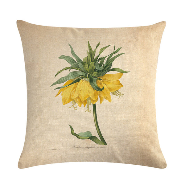 Vintage flowers Floral cushion covers Pillow case (yellow bells)