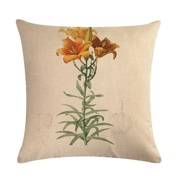 Vintage flowers Floral cushion covers Pillow case (orange lilies)