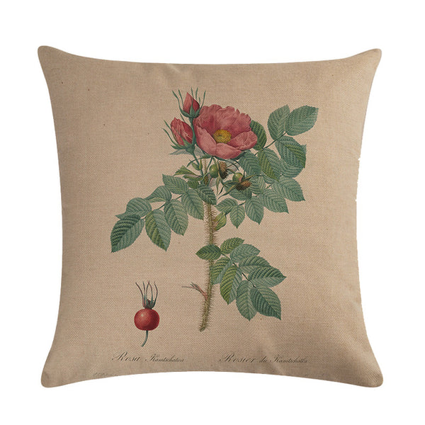 Vintage flowers Floral cushion covers Pillow case (camelia)