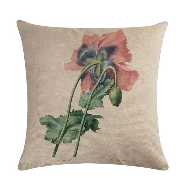 Vintage flowers Floral cushion covers Pillow case (red poppies)