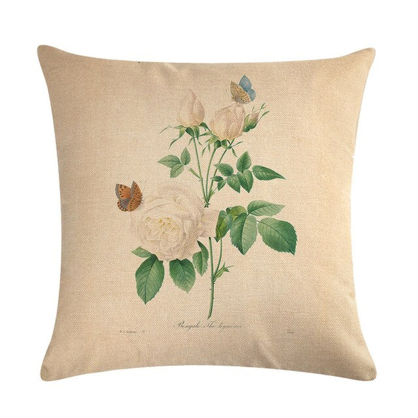 Vintage flowers Floral cushion covers Pillow case (white rose)