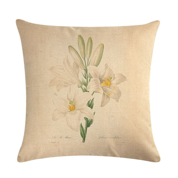 Vintage flowers Floral cushion covers Pillow case (white lily)