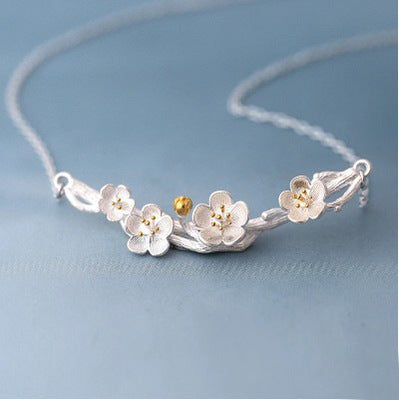 Sterling silver sakura flower necklace Flower neclace Silver necklace for women (Front view)