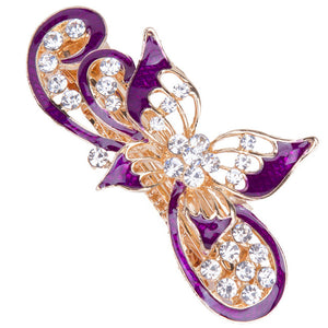 The wave butterfly hair clips hair barrettes (purple)