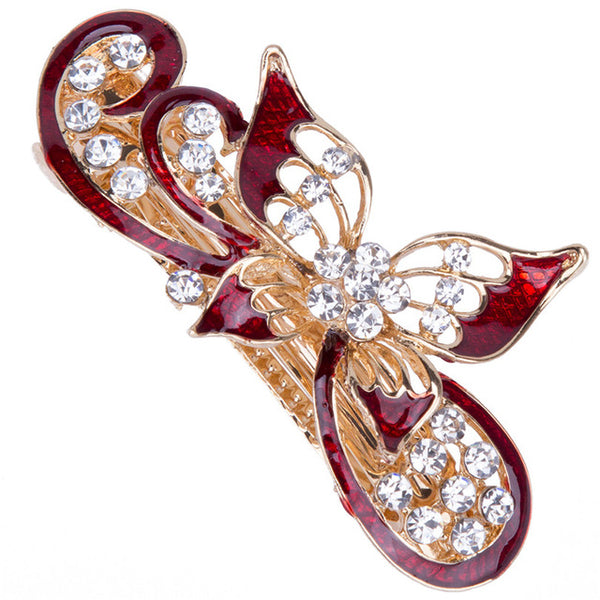 red butterfly hair barrette