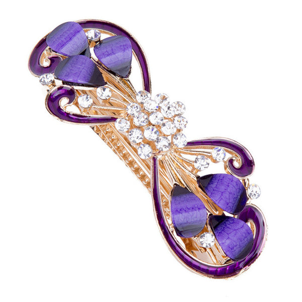 purple flower curve hair barrettes