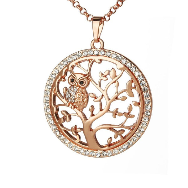 rose gold owl necklace