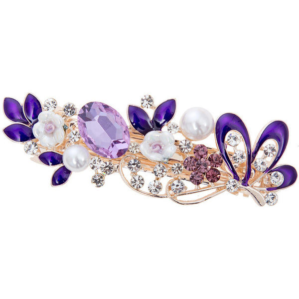 The Flowery Barrette Hair Clips (purple 2)