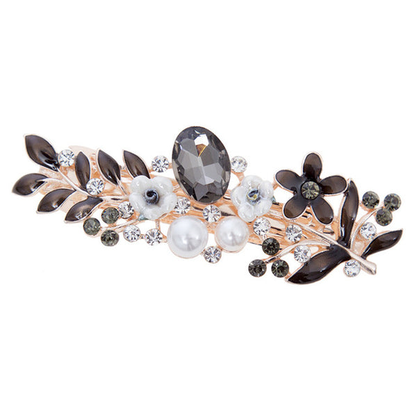 The Flowery Barrette Hair Clips (black)