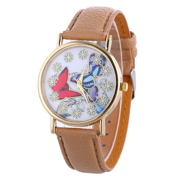 """The Graceful"" -- Women's Butterfly Watch (khaki)"