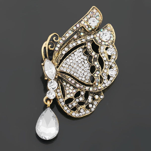 WEIMANJINGDIAN brand New Arrival Pink Yellow Blue Assorted Colors Crystal Butterfly Brooches and Pins for Women