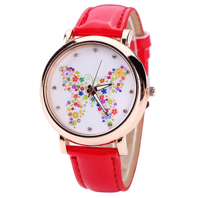 Color Carnival -- Butterfly watches Women watches (red)
