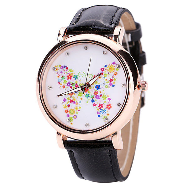 Color Carnival -- Butterfly watches Women watches (black)