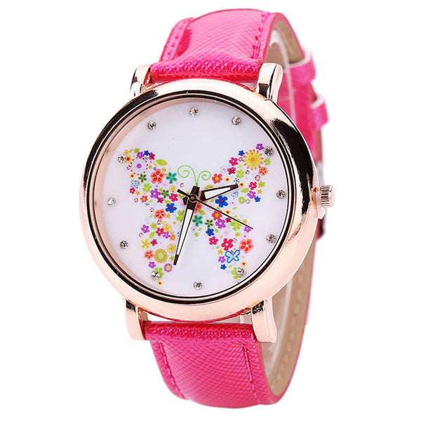 Color Carnival -- Butterfly watches Women watches (shocking pink)