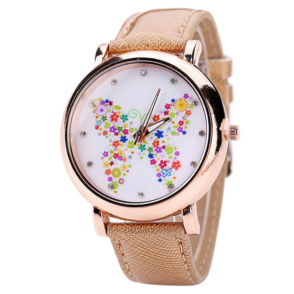 Color Carnival -- Butterfly watches Women watches (beige)