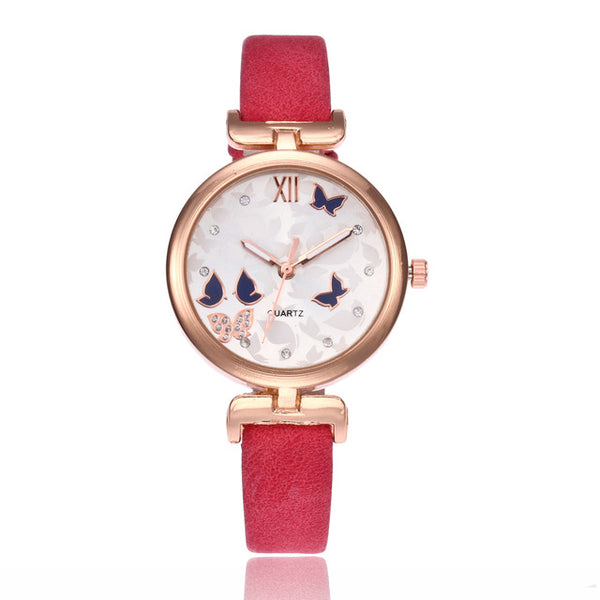 the butterfly watch with red wrist bands