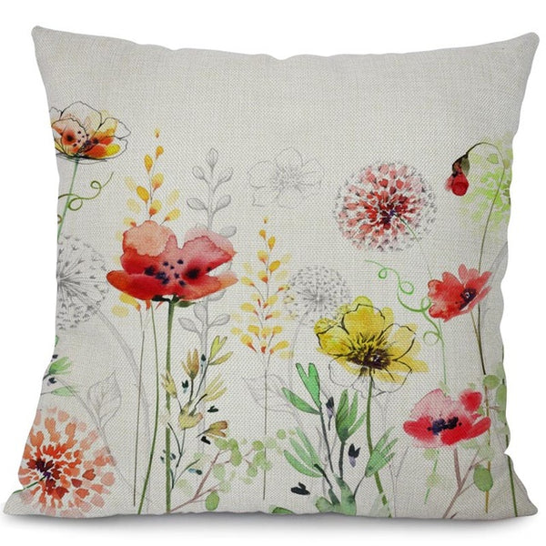 Garden dreams floral cushion covers Butterflies pillow case (red poppy flower)