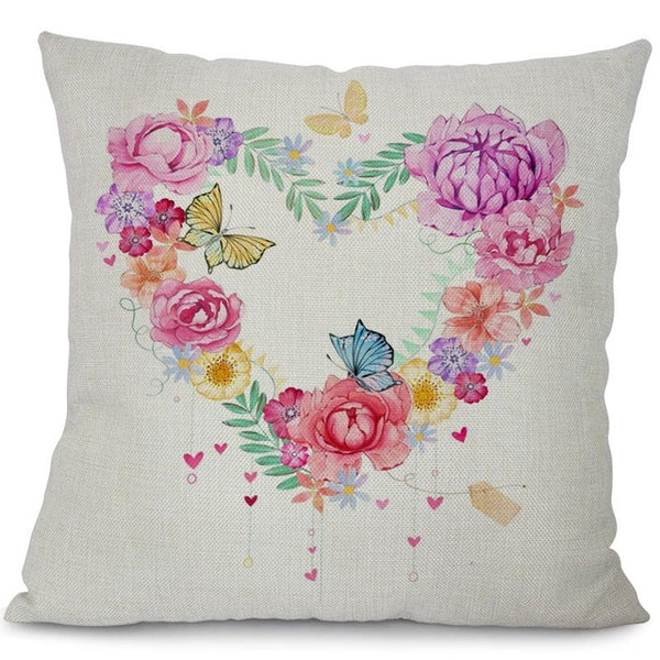 Garden dreams floral cushion covers Butterflies pillow case (the heart flower ring)