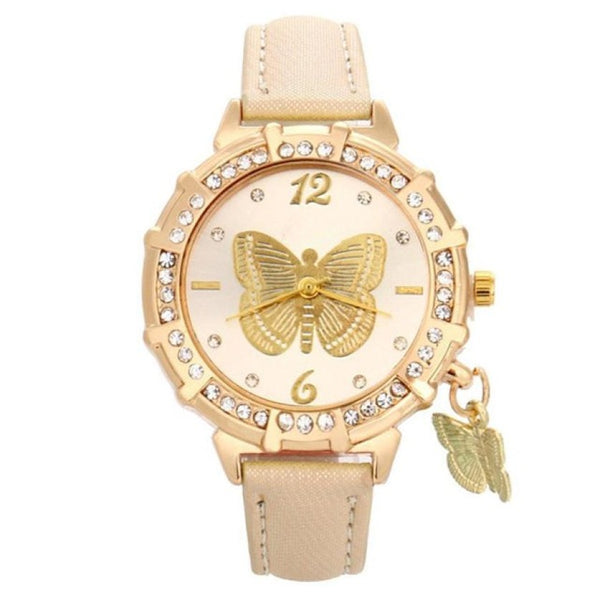 beige butterfly watch