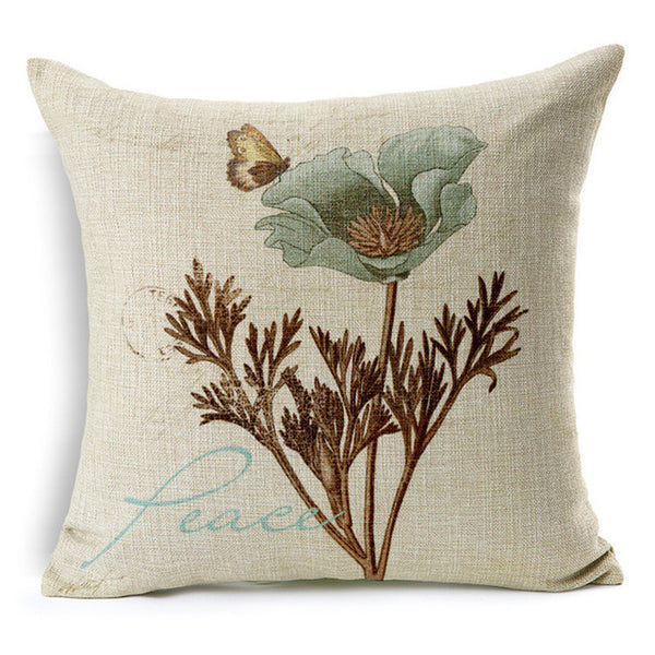 Maiyubo Vintage Flower Cushion Cover Modern Letters Decorative Throw Pillow Cover Hidden Zipper Butterfly Capa De Almofada PC321