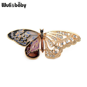 Wuli&Baby Alloy Purple Enamel Butterfly Brooches Men And Women's Metal Rhinestone Insects Banquet Wedding Party Brooch Gifts