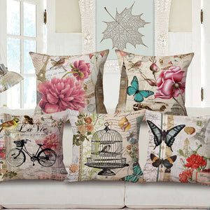 Retro butterflies floral cushion covers (full collection)