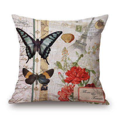 Butterflies and Paris cushion covers