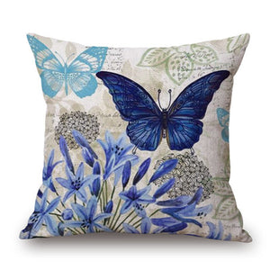Blue butterfly floral cushion covers pillow case