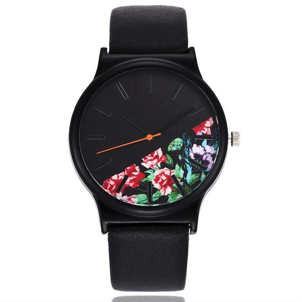 """Black Flower"" -- Women's Butterfly Watch"