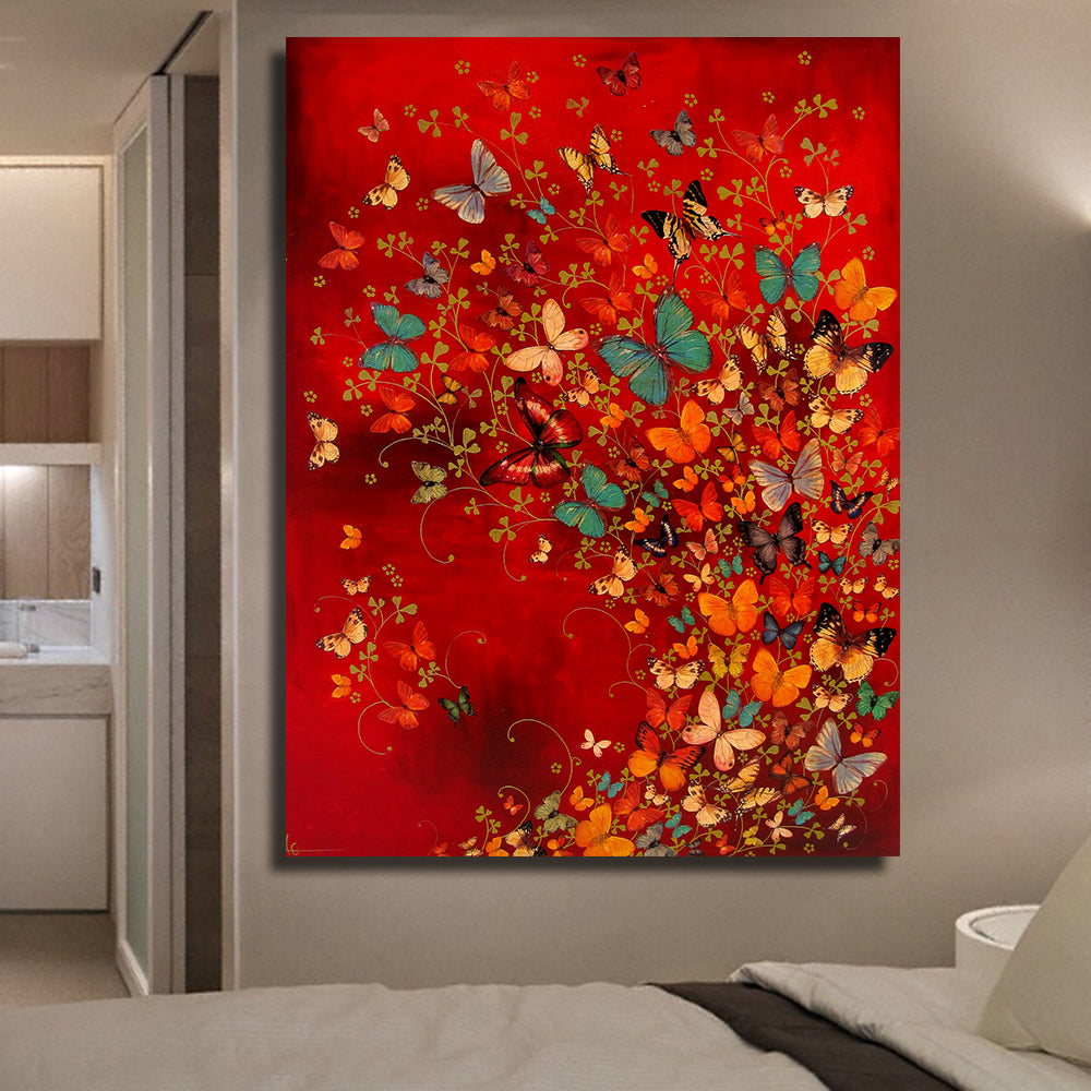 QKART Frameless Wall Art Canvas Painting Common Butterfly Oil Painting On Canvas Picture Wall Paintings for Living Room