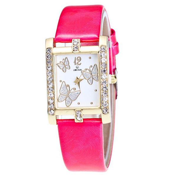 Square Classic -- Butterfly watches Women watches (hot pink)