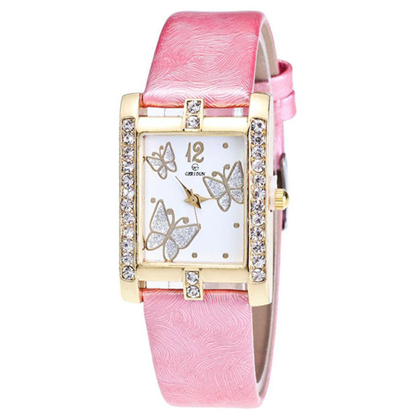 Square Classic -- Butterfly watches Women watches (pink)