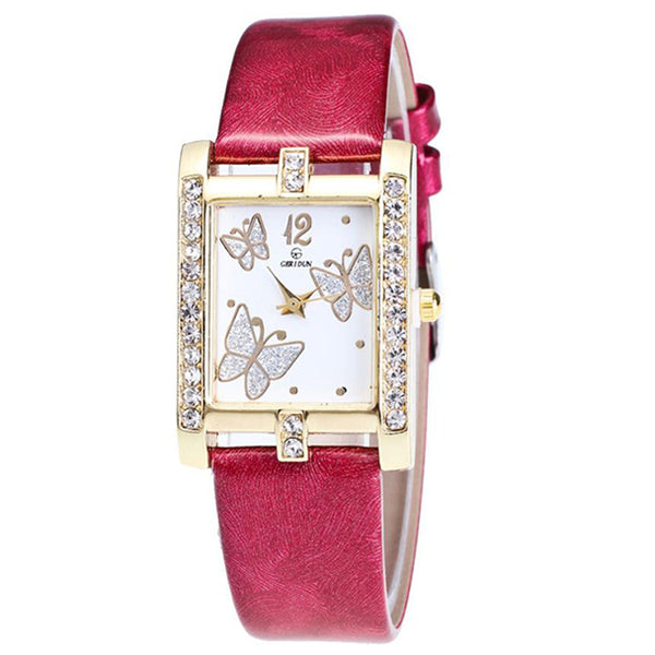 Square Classic -- Butterfly watches Women watches (red)